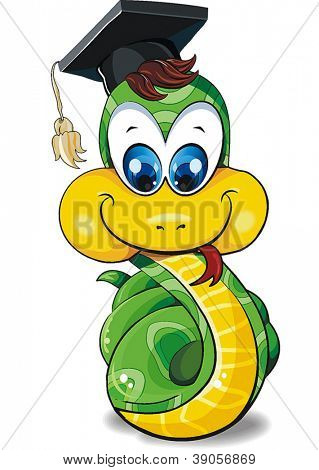 Funny Illustration chinese zodiac, Snake, Isolated on white background. Clipart vector.