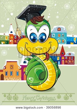 Abstract Elegance Illustraiton of comical snake. Clipart vector illustration.