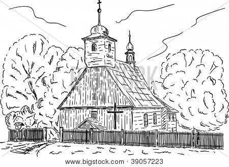 vector -  Old Wooden rural chapel with cemetery at Repiste, Czech republic