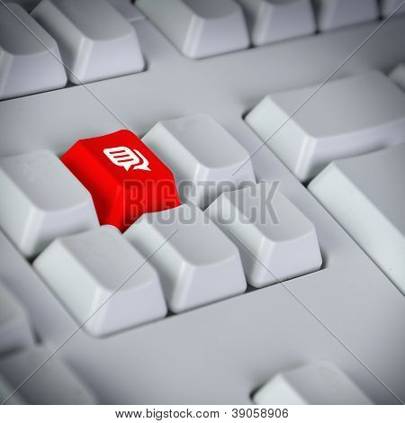 Keyboard with button showing the chat icon