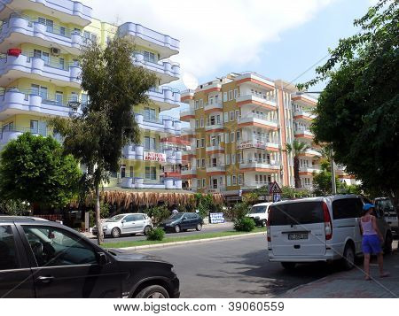 Alanya, Turkey - September 01, 2008: Town View With Buildings And People In Summer Day On September