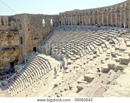 Aspendos, Turkey - September 04, 2008: People Take Pictures On Excursion In Old Amphiteater On Septe