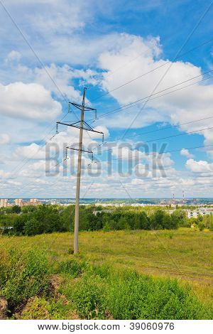 Powerline And Cloudy Sky
