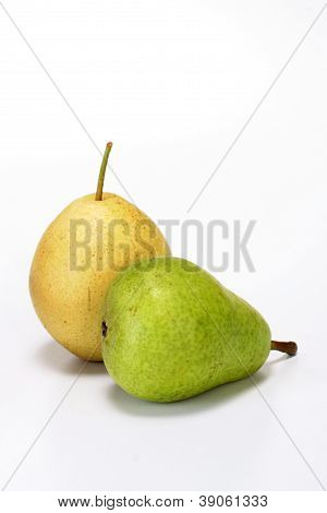 Yellow And Green Pear Isolated On A White