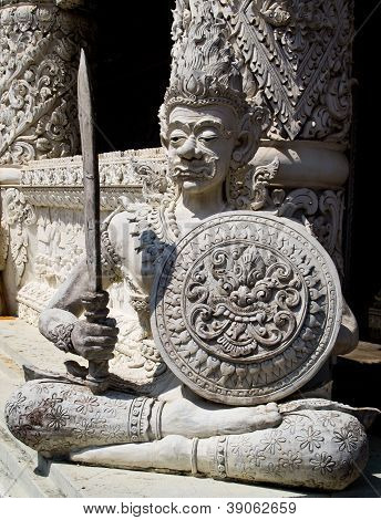Ascetic With Sword And Shield Statue In Traditional Thai Style Molding Art
