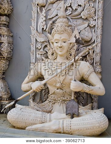 Ascetic With Bow  Statue In Traditional Thai Style Molding Art