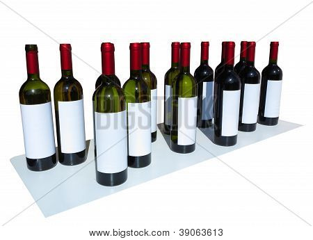 Unlabeled Wine Bottles Isolated Over White