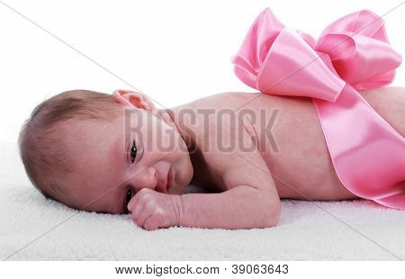 Newborn With Ribbon