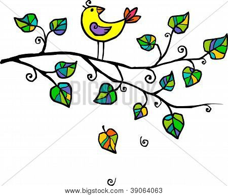 Yellow hand-drawn bird on the tree