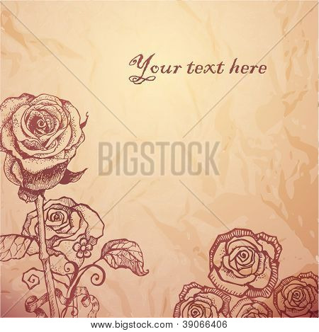 Vintage sketched flowers background