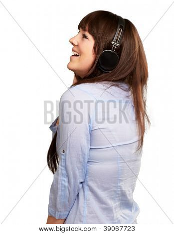 Happy Woman Wearing Headphone Isolated On White Background