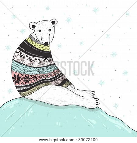 Christmas Card With Cute Polar Bear. Bear With Fair Isle Style Sweater.