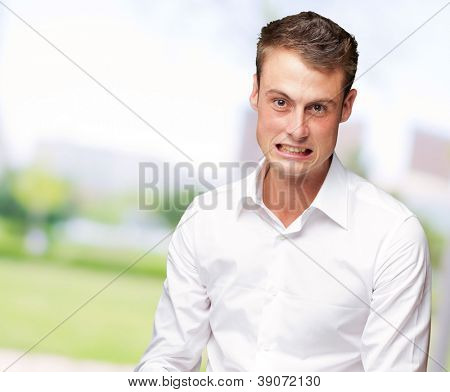 Portrait Of A Frustrated Young Man Casually Dressed