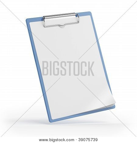 Blue clipboard with paper sheet