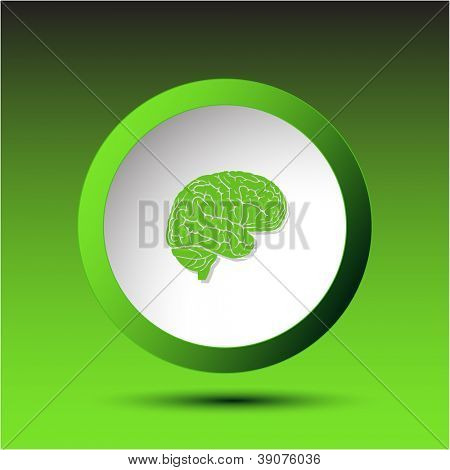 Brain. Plastic button. Raster illustration.
