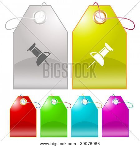Push pin. Raster tags. Vector version is in my portfolio.