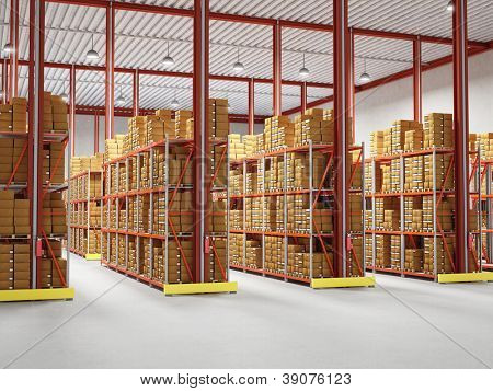 fine 3d image of classic warehouse