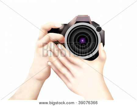 Hand Holding A Dslr Camera Isolated On White Background