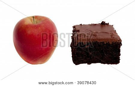 Healthy Red Apple or Unhealthy Chocolate Cake