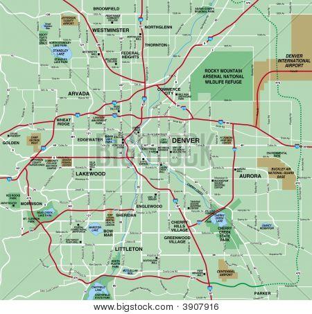 Denver, Colorado Metropolian Area Map