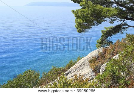 View to Adriatic sea from Makarska beach