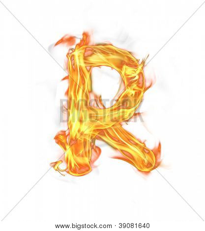 "Fire letter ""R"" isolated on white background"