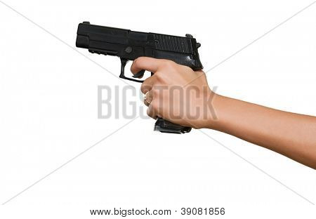 Woman's Hand With A Gun Isolated On White Background