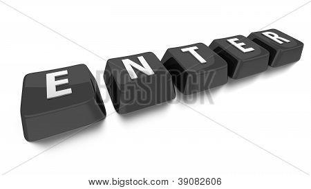 Enter Written In White On Black Computer Keys. 3D Illustration. Isolated Background.