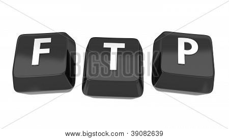 Ftp Written In White On Black Computer Keys. 3D Illustration. Isolated Background.