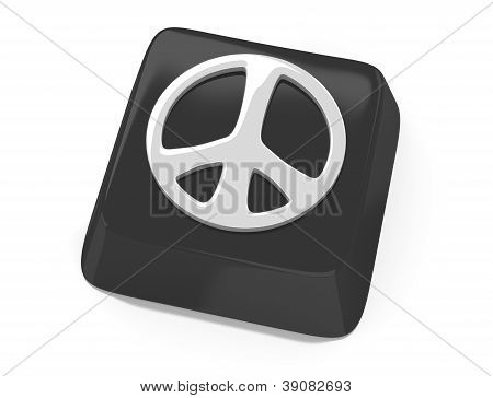 Peace Symbol In White On Black Computer Key. 3D Illustration. Isolated Background.