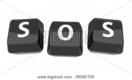 Sos Written In White On Black Computer Keys. 3D Illustration. Isolated Background.