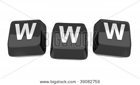 Www Written In White On Black Computer Keys. 3D Illustration. Isolated Background.