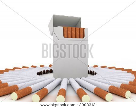 Pack Of Cigarettes And Cigarettes Around