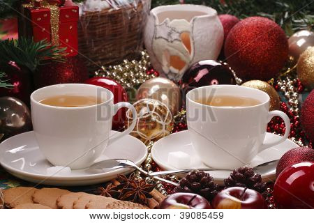 Christmas still life with tea and biscuits