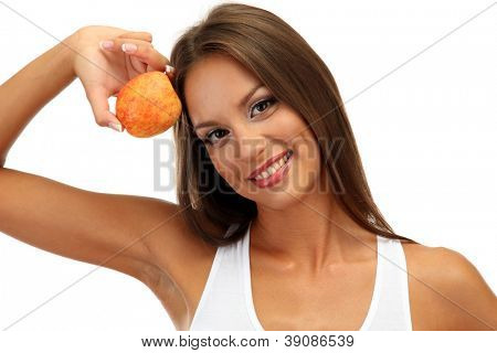 beautiful young woman with  peach, isolated on white
