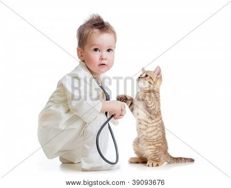 kid or child playing doctor with stethoscope and cat isolated on white