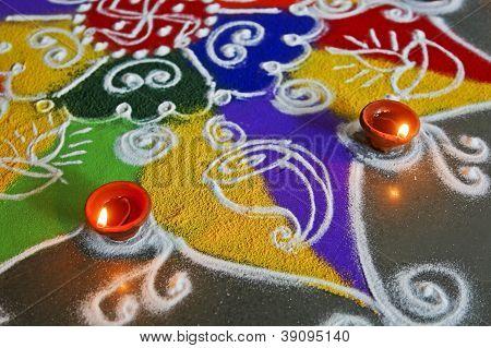 Rangoli And Diva Abstract