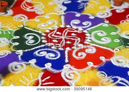 Indoor Hindu Rangoli Pattern