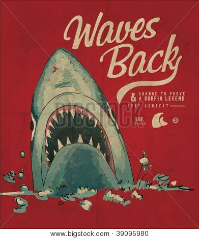 Summer shark beach sketch 3 for apparel.Vector illustration.