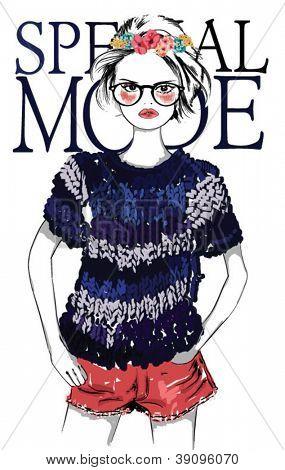 fashion sketch drawing girl.vector illustration.