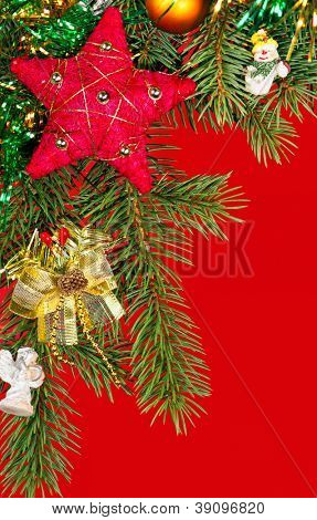 christmas tree with decoration on red