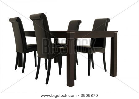 Dark Wooden Table And Chairs