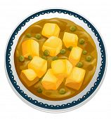 foto of paneer  - illustration of a paneer curry on a white - JPG