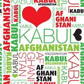I love Kabul Afghanistan seamless typography background pattern in vector