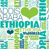I love Ethiopia Addis Ababa seamless typography background pattern in vector