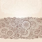 stock photo of henna tattoo  - Henna Flowers and Paisley Mehndi Tattoo Edge Design Doodle - JPG