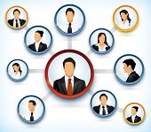 foto of hierarchy  - Presentation of a network structure with avatars of business people - JPG