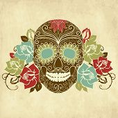 image of day dead skull  - Skull and roses - JPG