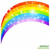 stock photo of triskele  - Abstract vector background with rainbow and lucky clover - JPG