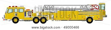 Yellow Tiller Tractor Drawn Aerial Fire Ladder with Pump
